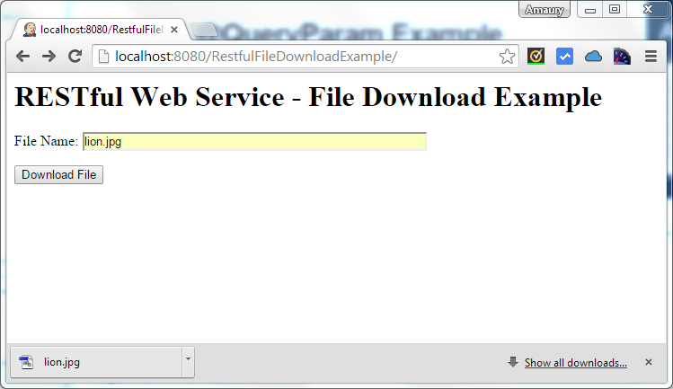 File Download Example Using RESTful Web Service with JAX-RS
