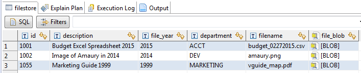 filestore db table