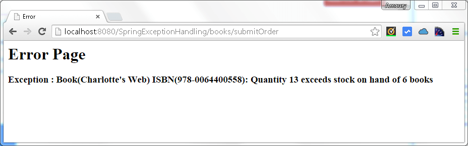 book order exception